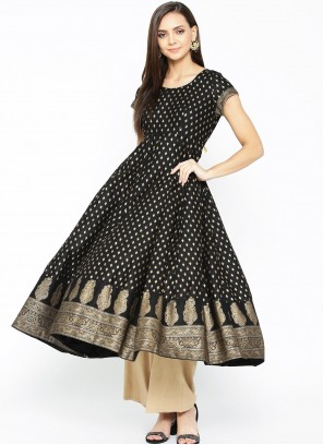 Print Cotton Designer Kurti in Black