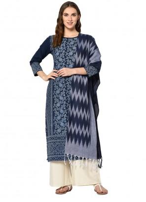 Print Cotton Designer Palazzo Suit in Blue