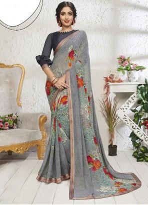 Print Cotton Grey Designer Saree