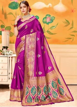 Print Cotton Hot Pink Casual Saree