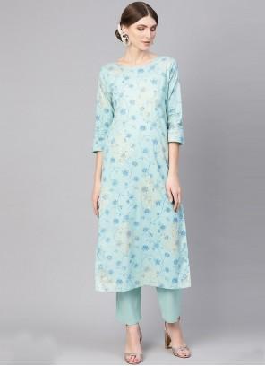 Print Cotton Blue Party Wear Kurti