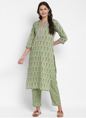 Green Print Cotton Party Wear Kurti
