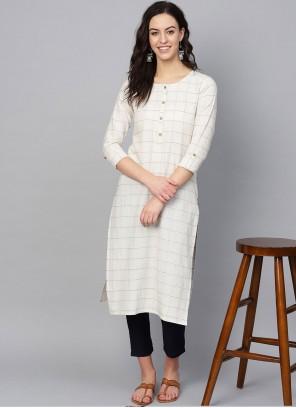 Off White Print Cotton Party Wear Kurti