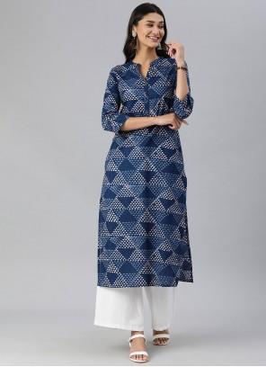 Print Cotton Party Wear Kurti in Blue