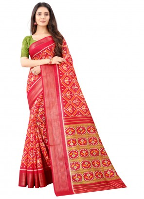 Red Printed Cotton Saree For Festival