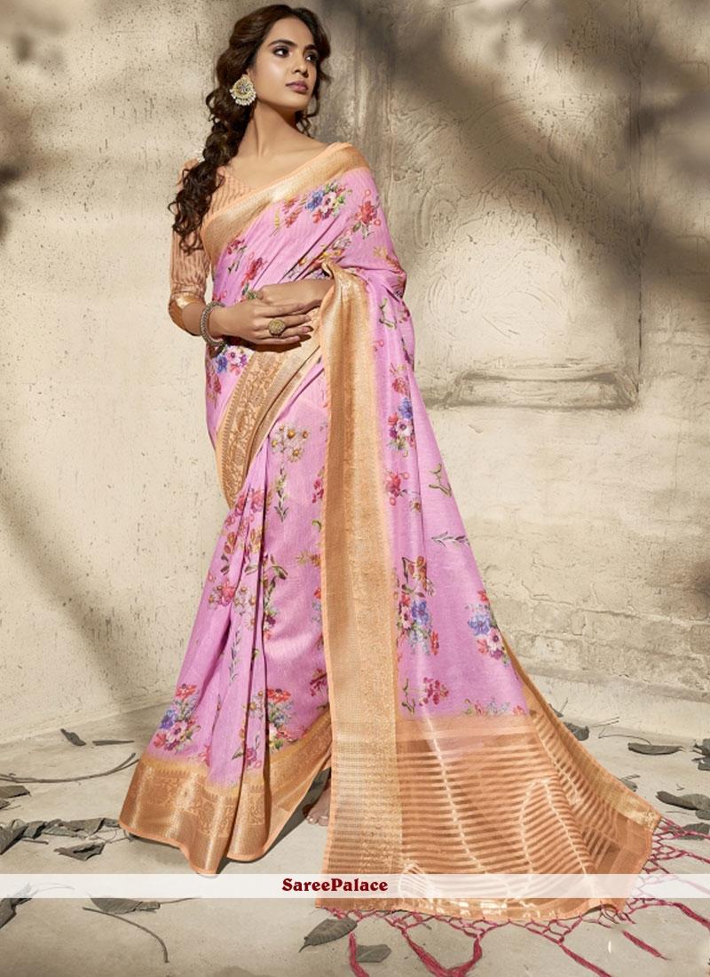 Print Cotton  Classic Saree in Pink