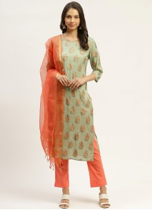 Print Cotton Green Readymade Suit