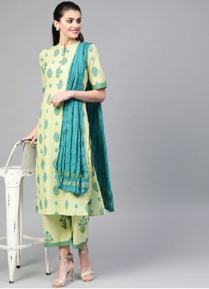 Print Cotton Readymade Suit in Green