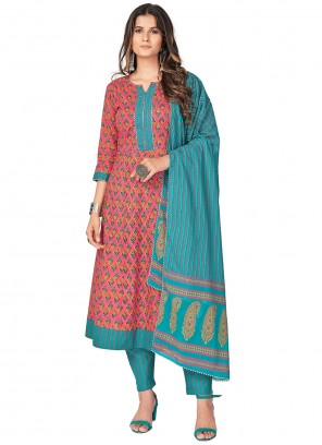Print Cotton Readymade Suit in Pink