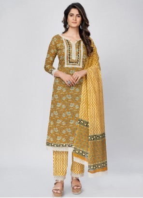 Print Cotton Readymade Suit in Yellow