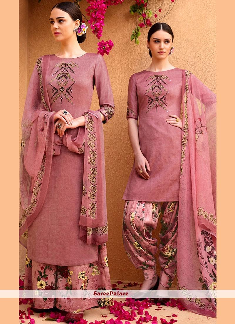 Print Cotton Satin Designer Suit in Mauve
