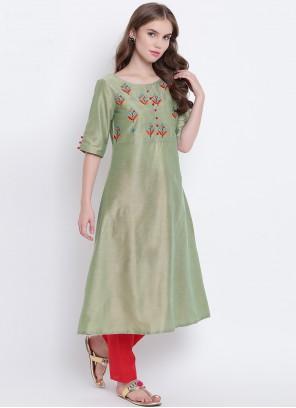 Print Cotton Silk Green Party Wear Kurti