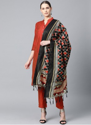 Print Cotton Silk Readymade Suit in Red