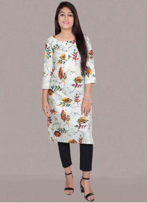 Print Cotton White Designer Kurti