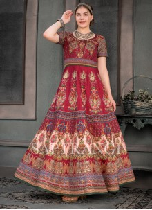 Multi Colour Print Designer Gown