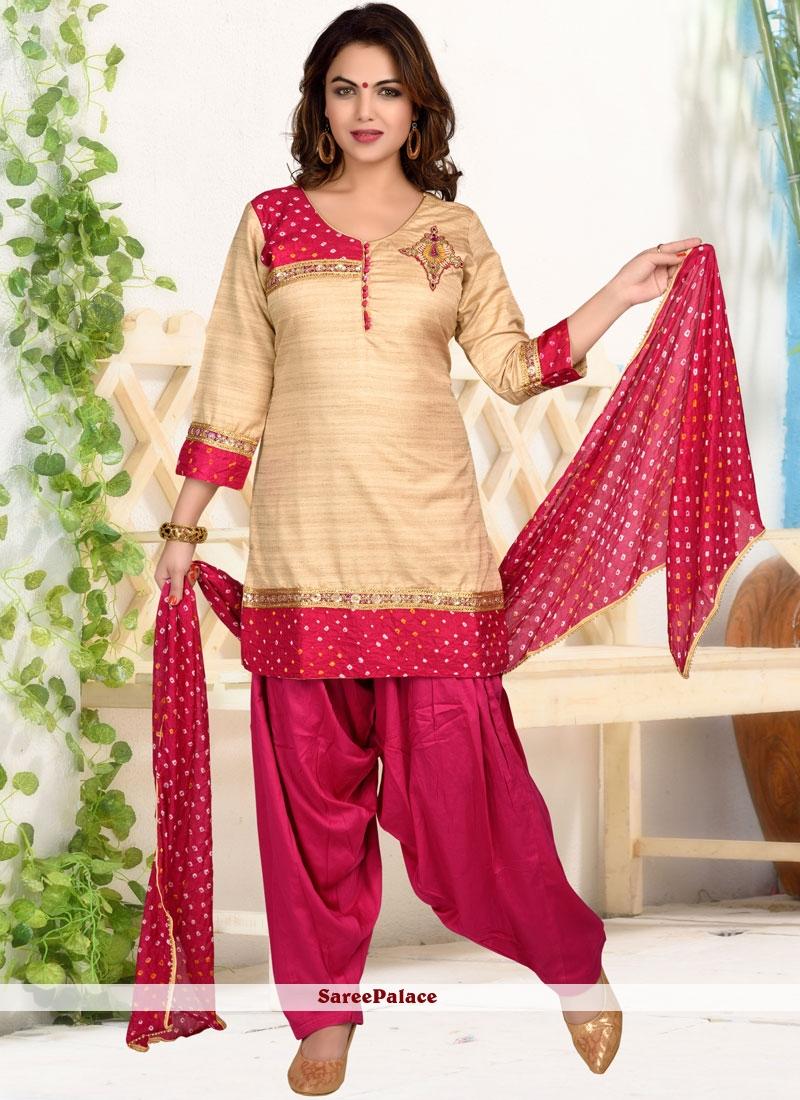 9f692109358 Buy Print Dupion Silk Designer Patiala Suit in Cream Online