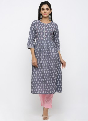 Grey Print Engagement Salwar Suit