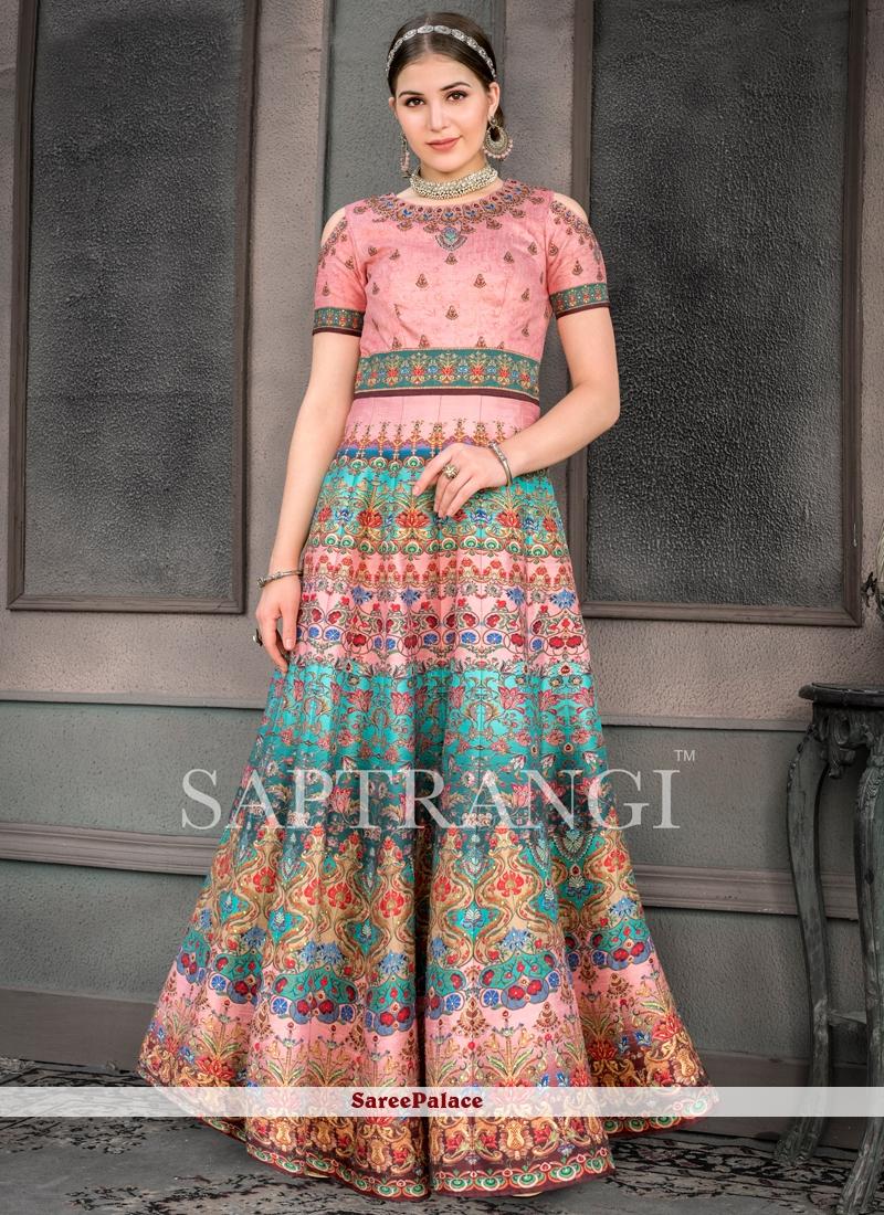 Multi Colour Print Fancy Fabric Designer Gown