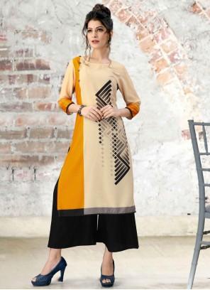Multi Colour Print Fancy Fabric Party Wear Kurti