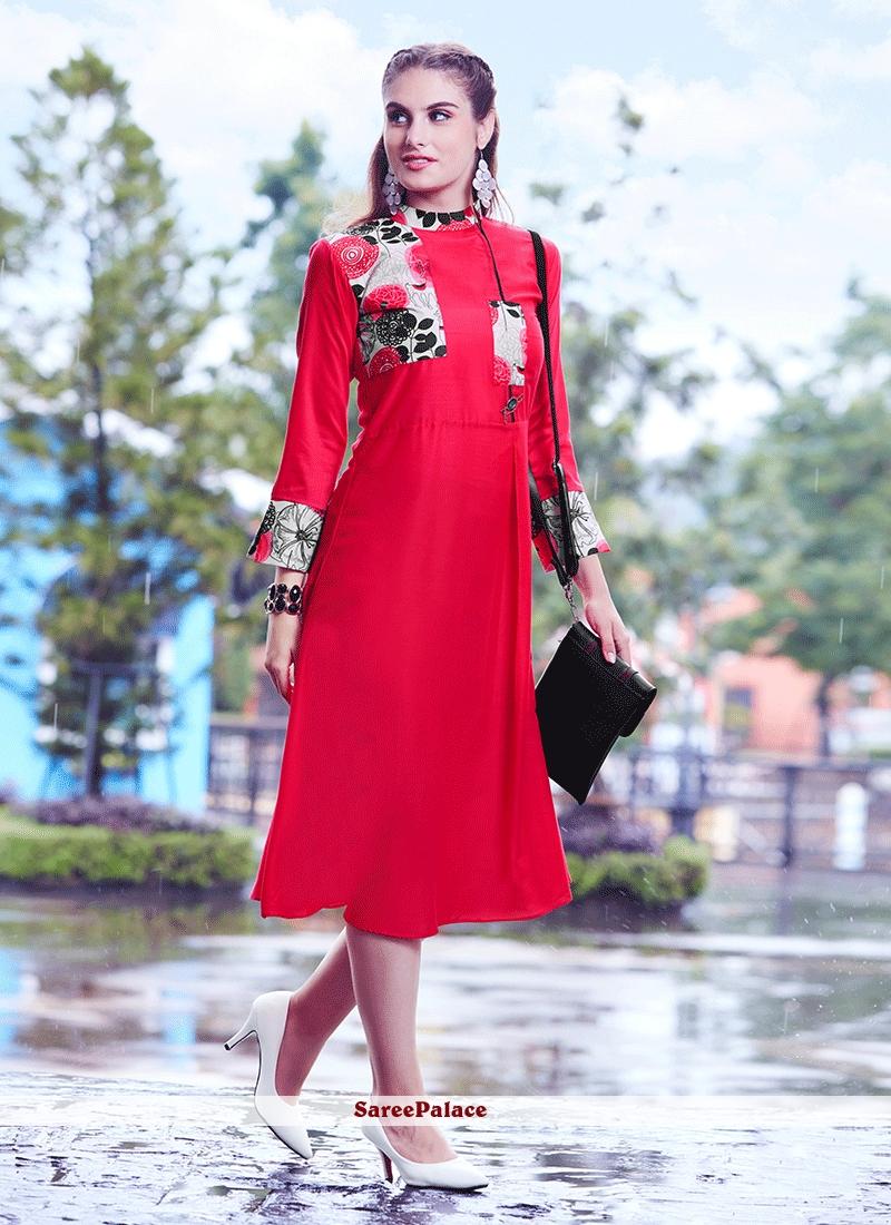79d45a730 Buy Print Fancy Fabric Party Wear Kurti in Red Online