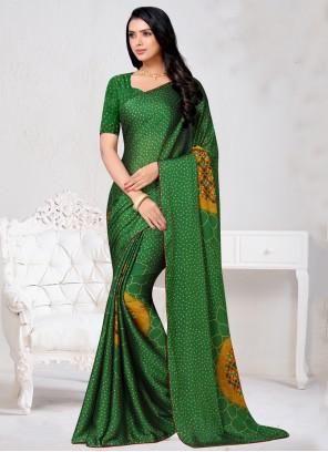 Print Faux Chiffon Green Traditional Saree