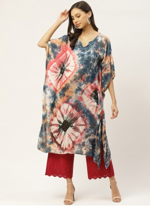 Print Faux Crepe Party Wear Kurti in Multi Colour
