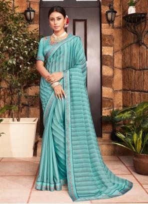 Print Faux Georgette Classic Designer Saree in Blue