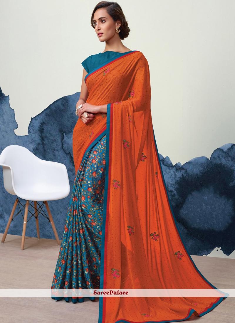 Print Faux Georgette Designer Half N Half Saree in Orange and Teal