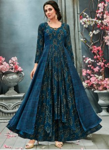Print Faux Georgette Readymade Gown  in Blue