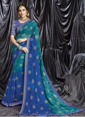 Print Faux Georgette Shaded Saree in Blue
