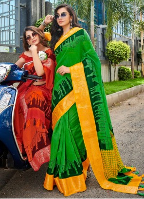 Green Linen Cotton Festival Printed Saree