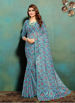 Multi Colour Print Banarasi Silk Festival Traditional Saree