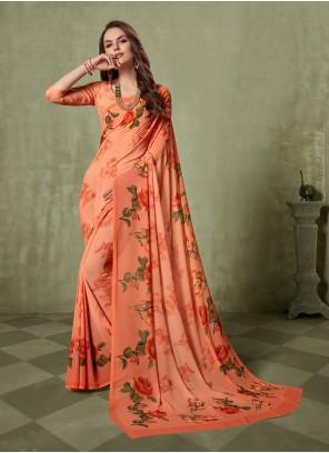 Print Georgette Orange Saree