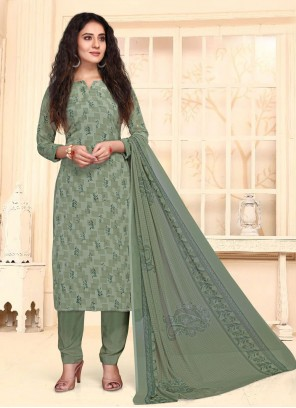 Print Green Faux Crepe Straight Suit