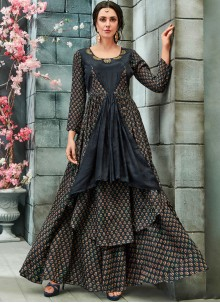 Print Grey Readymade Gown