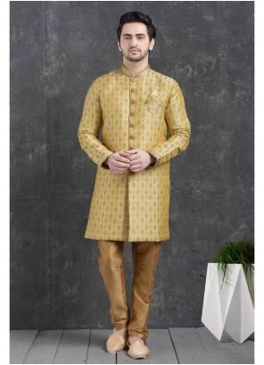 Print Jacquard Silk Indo Western in Gold