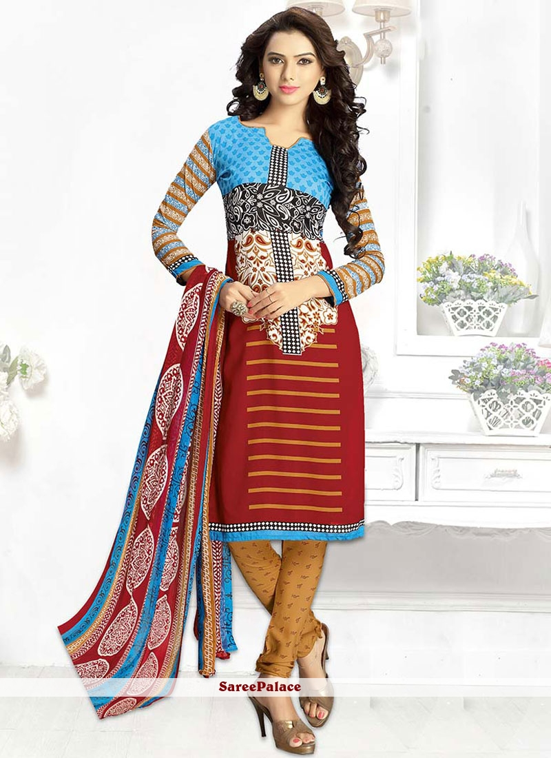 Print Leon Churidar Suit in Multi Colour