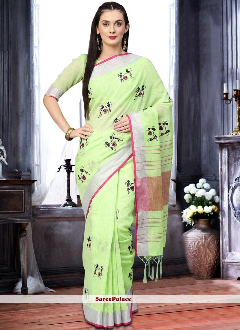 Print Linen Classic Saree in Green