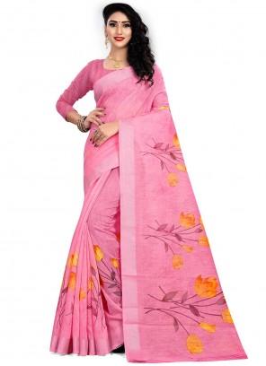Print Linen Pink Saree