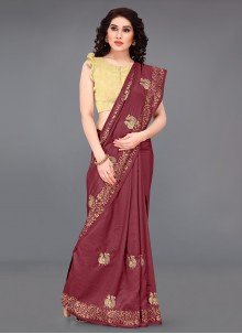 Print Maroon Silk Casual Saree