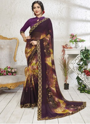 Print Mehndi Designer Saree