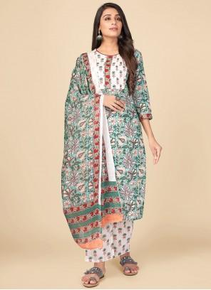 Print Multi Colour Cotton Pant Style Suit