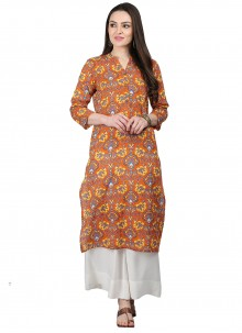 Print Multi Colour Cotton Party Wear Kurti