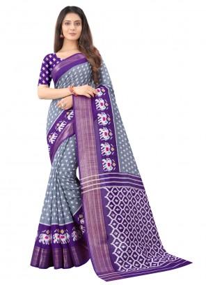Print Multi Colour Cotton Saree For Festival