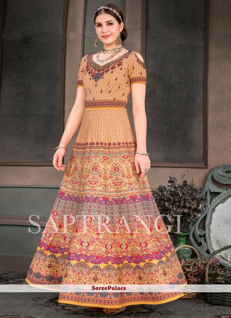 Print Multi Colour Fancy Fabric Designer Gown