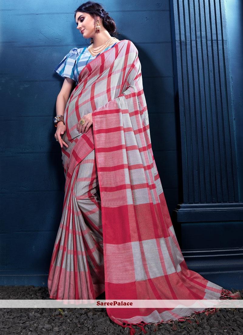 Print Multi Colour Linen Designer Saree