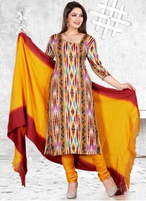 Print Multi Colour Pashmina Churidar Suit
