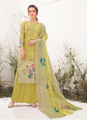 Green Print Muslin Designer Palazzo Suit