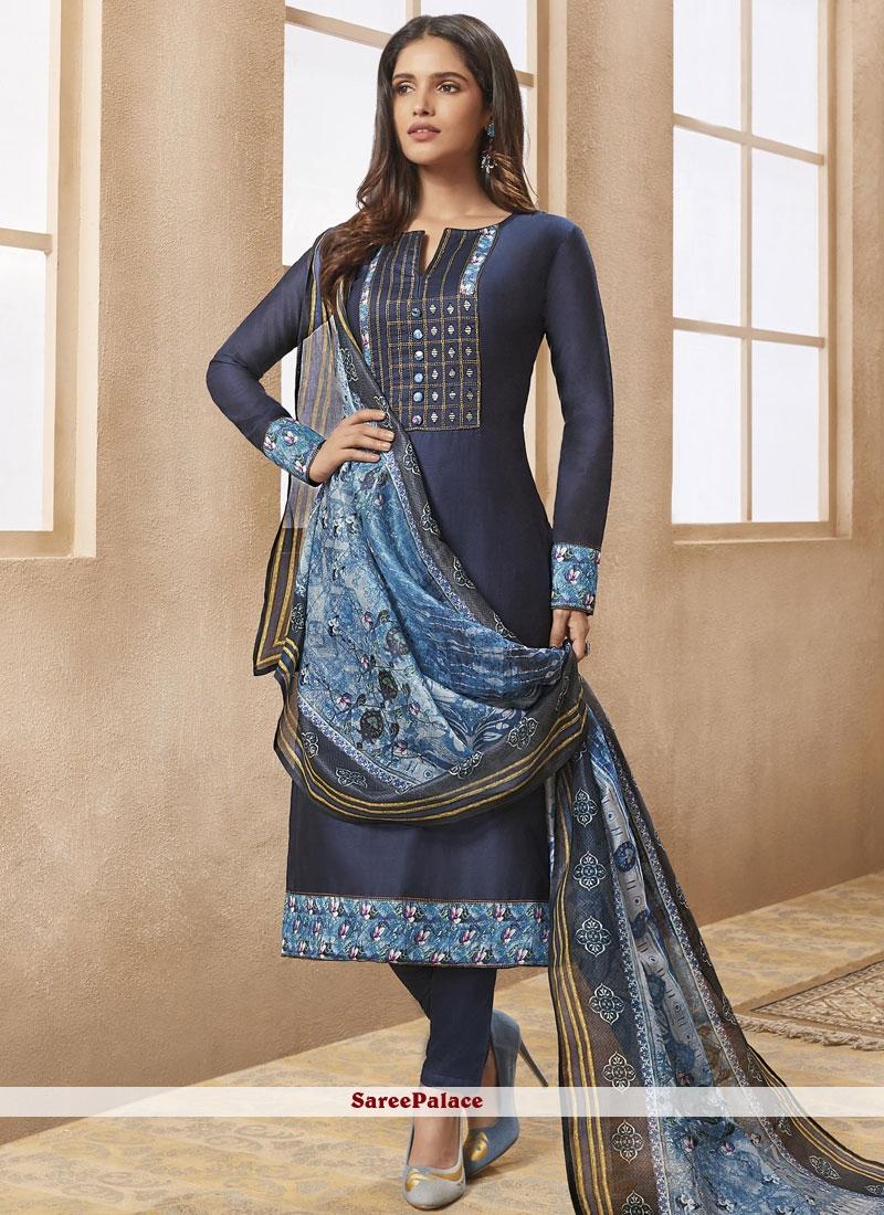 Print Navy Blue Chanderi Designer Straight Suit