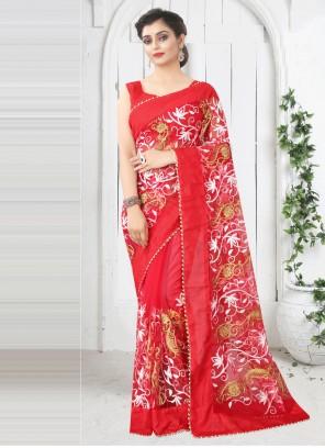 Red Net Printed Saree